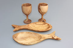 02 Olive wood Wine Cups + 02 Fish-shaped dishes, Kitchen Utensil Set