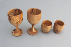 Set of 02 Olive Wood Cups + 02 Small Goblets