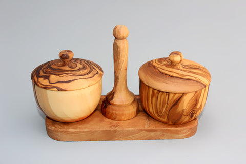 Olive wood salt pepper Keeper Box / Salt and Pepper Cellar Bowl
