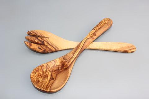 Olive Wood Utensil set 11.75 Inch : 1 Spoon, 1 Fork