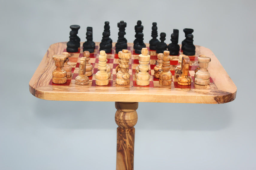 Olive wood chess Table 15 Inch with Removable Stand 23.5 Inch + 32 chess pieces - Red Squares - Large Size
