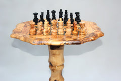 Octagon-shaped Olive wood chess board with Removable Stand 19.7 Inch + 32 chess pieces - Black Squares - Large Size