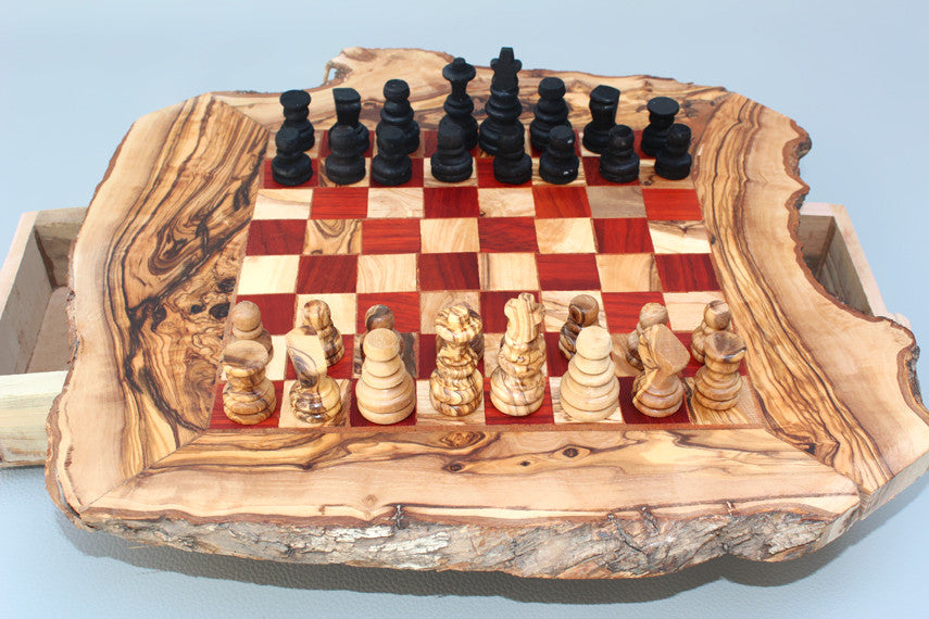 Engraved Olive Wood Rustic Chess Set, custom natural edge personalized chess board, Dad gift, Birthday gift - Red square 2.5 cm