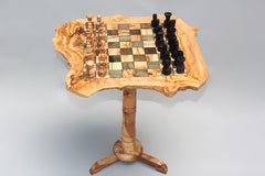 Rustic Chess Table + 32 Chess Pieces / Black Squares / Large Size