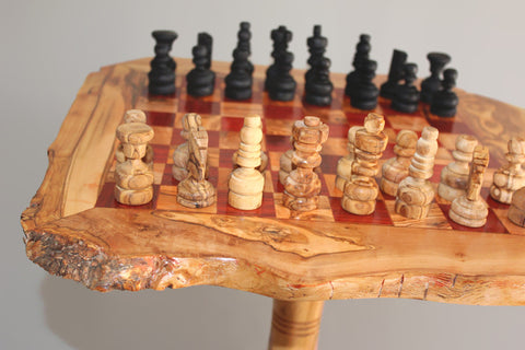 Olive wood rustic chess table 20 Inch with Removable Stand 23.5 Inch + 32 chess pieces - Red Squares - Large Size