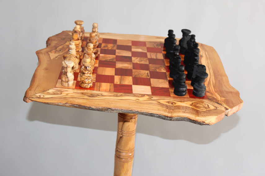 ... Olive Wood Rustic Chess Table 20 Inch With Removable Stand 23.5 Inch +  32 Chess Pieces ...