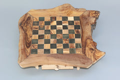 Personalized Natural edge chess board, Engraved Olive Wood Rustic Chess Set, Dad gift, Father's Day Gift, Birthday gift