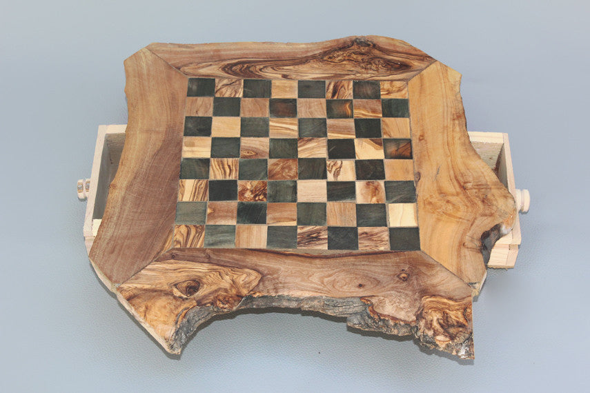 ... Personalized Natural Edge Chess Board, Engraved Olive Wood Rustic Chess  Set, Dad Gift, ...