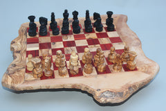 Rustic Personalized Chess Set, Custom Engraved Monogrammed Wooden Chess Board, Dad gift, Birthday gift - BIG SIZE - RED Squares