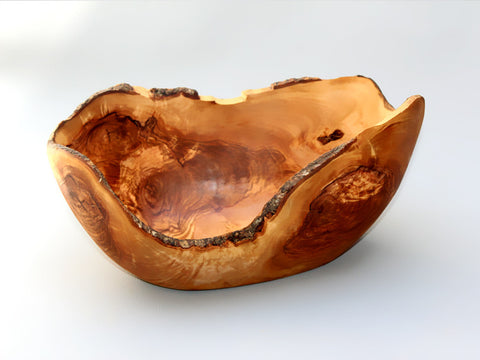 Natural Edges Olive Wood Rustic fruit bowl / Wooden rustic fruit bowl without handle