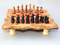 Handcarved Chess Board / Wooden Chess Set / Olive Wood Chess Game - Red Square - Medium Size