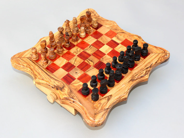 Handcarved Chess Board Wooden Chess Set Olive Wood Chess Game Re Tunisiabazaar