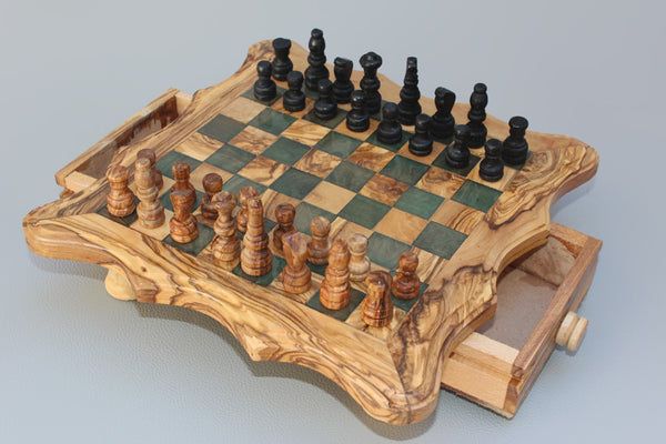 Handcarved Chess Board Wooden Chess Set Olive Wood