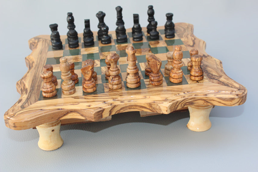 Handcarved Chess Board / Wooden Chess Set / Olive Wood Chess Game - Black Square - Medium Size