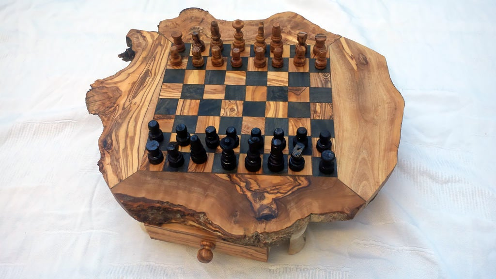 Natural edge Olive wood Chess Set / Wooden Chess Board with 32 Chess pieces / Dad gift, Birthday gift, Christmas gift