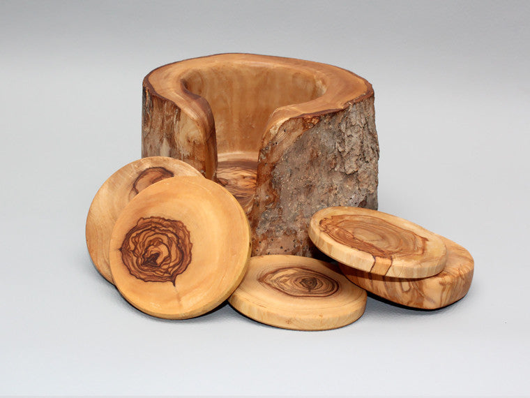 Wooden Rustic Coaster Set With Rustic Holder