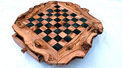 Large Rustic Olive Wood Chess Set Board 17.7 Inch, With Drawers, Engraved Chess Set Game, Rustic Personalized Dad gift