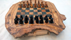 Chess Set, Unique Olive Wood Rustic Chess Board, Dad Gift, Christmas Present