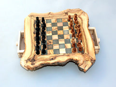 Engraved Olive Wood Rustic Chess Set, custom natural edge personalized chess board - Small Size / Dad gift, Birthday gift