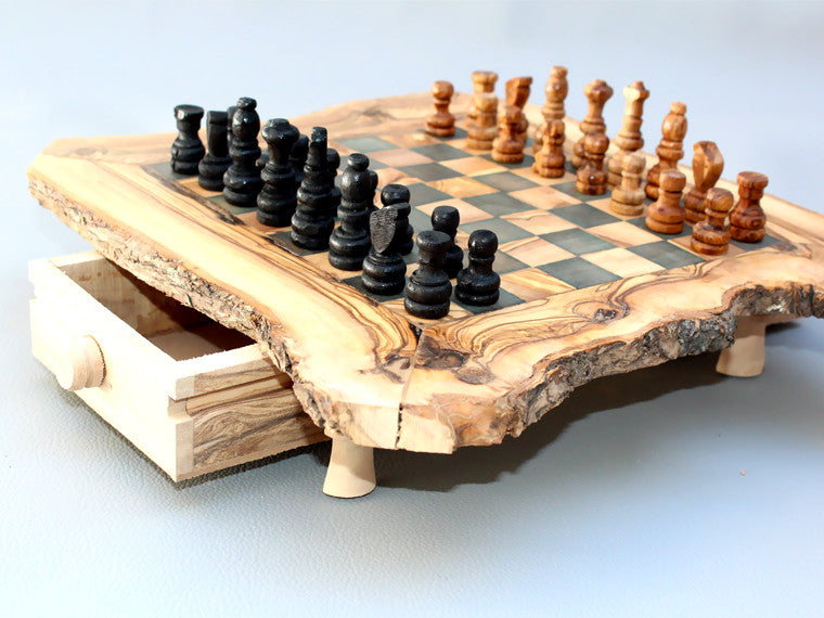 ... Engraved Olive Wood Rustic Chess Set, Custom Natural Edge Personalized Chess  Board   Small Size ...