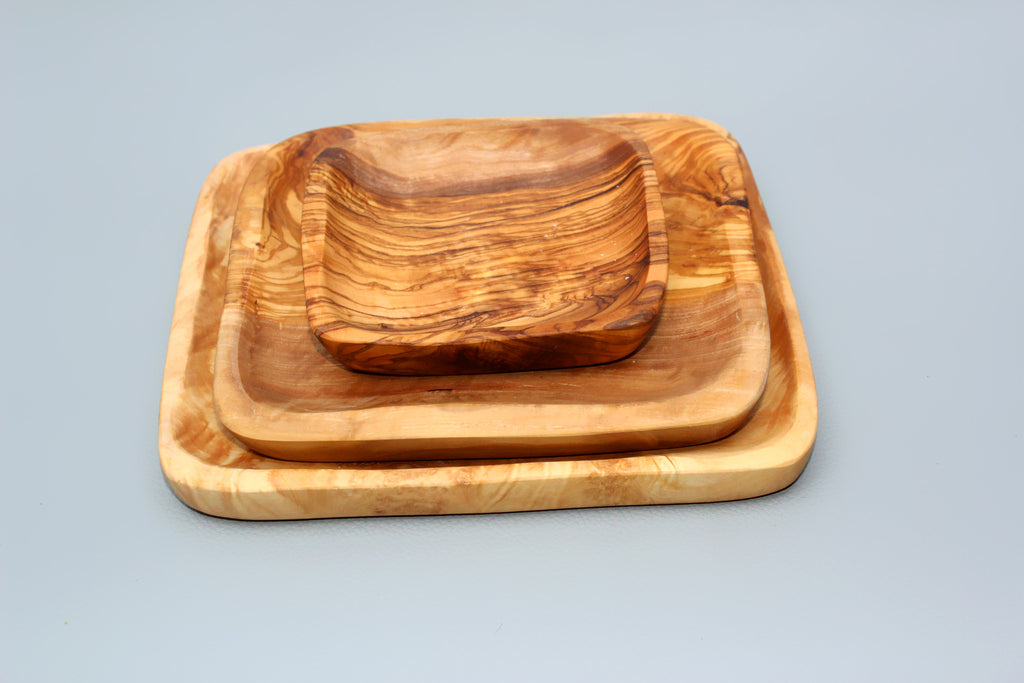 FREE SHIPPING, Set of 03 Olive wood square dishes