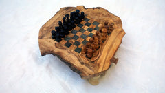 SMALL SIZE Rustic Chess Set with 32 Chess pieces, Natural edge chess board, Christmas Gift, Birthday gift, Dad gift