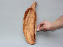 Leaf shaped wooden dish