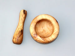 Rustic Olive Wood Mortar and Pestle - Rounded edge style