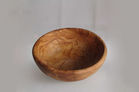 Olive Wood rounded Salad Bowl - Smooth Finish - Diameter 24cm - Wedding Gift, Mom Gift
