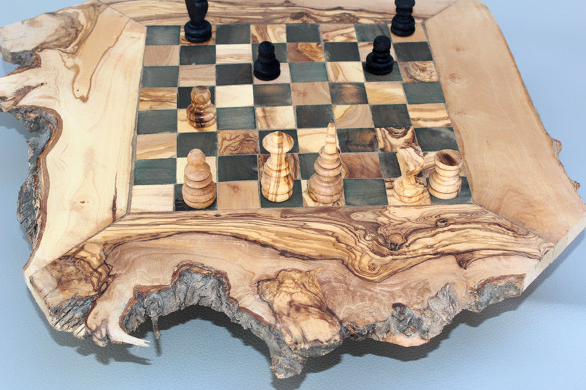 ... Unique Olive Wood Natural Edges Chess Set / Personalized Custom Wooden Chess  Board Set / Engraved