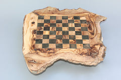 Custom natural edge personalized chess board / Olive wood Chess Set / wooden Chess Game / Dad gift, Birthday gift