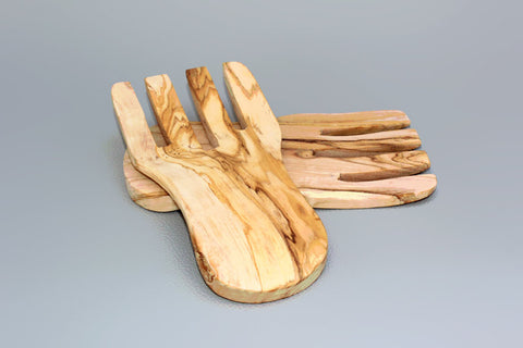 FREE SHIPPING, Olive Wood serving hands / Olive Wood salad mixing serving utensils Set / Wooden Kitchen Cooking Utensils Tools