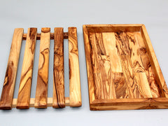Olive Wood rustic bread cutting board / Crumb Catcher Cutting Board