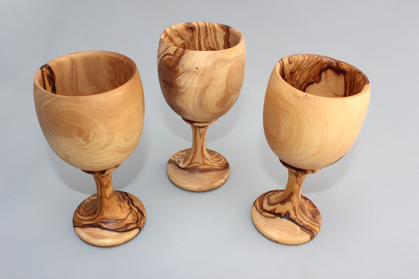 Set of 03 Olive Wood Wine Cups