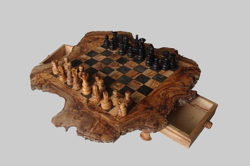 Olive Wood Rustic Chess Set / Black square / 2.5 cm