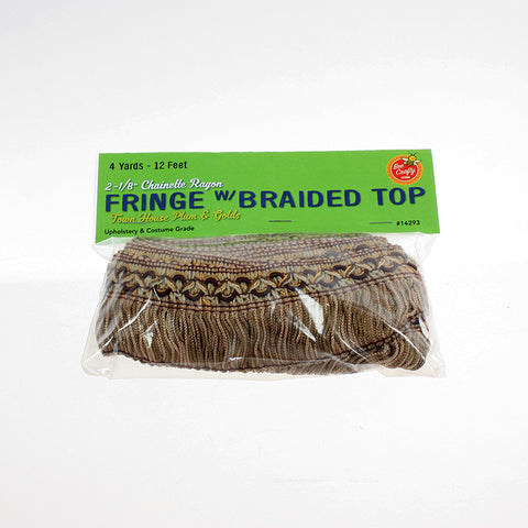 "2-1/8"" Chainette Rayon Fringe w/ Braided Top ($19.95 retail, $6.00 wholesale x 12 per case)"