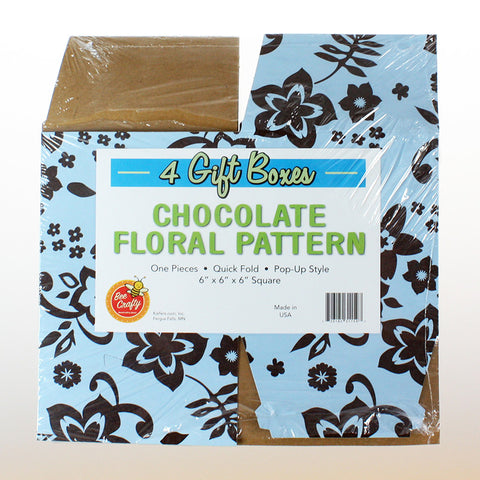 "Blue & Chocolate Floral ""POP-UP""   Gift Boxes (100 per case) 2 sizes"
