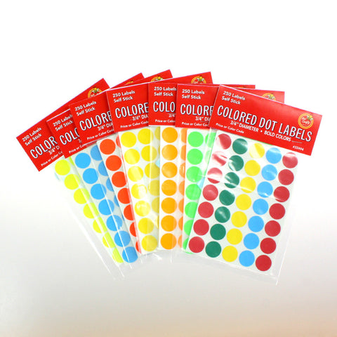 "3/4"" Colored Dot Labels ($2.99 retail, $1.25 cost x 36 packs)"