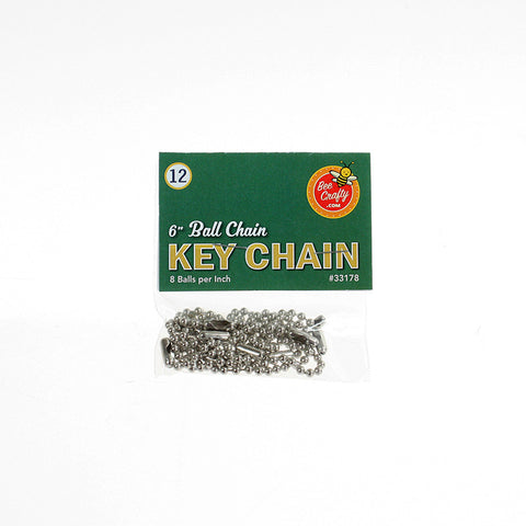 "6"" Ball Chain Key Chain ($1.00 wholesale x 24 per case)"