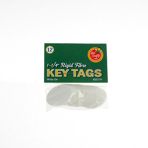 "1-1/4"" Rigid Fibre Key Tags ($1.00 wholesale x 24 per case)"