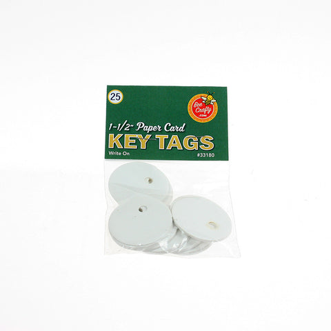 "1-1/2"" Paper Card Key Tags ($1.00 wholesale x 24 per case)"