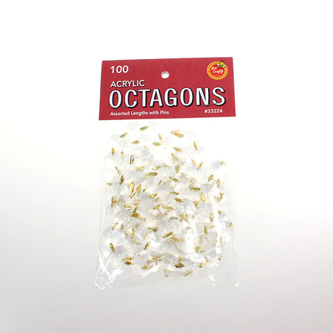 100 Acrylic Octagons ($3.99 retail, $2.00 cost x 24 per case) Assorted