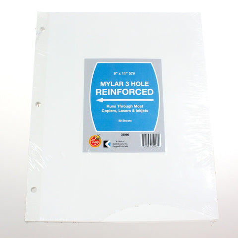 Mylar 3 Hole Reinforced Paper ($2.99 retail, $1.50 cost x 20 per case)