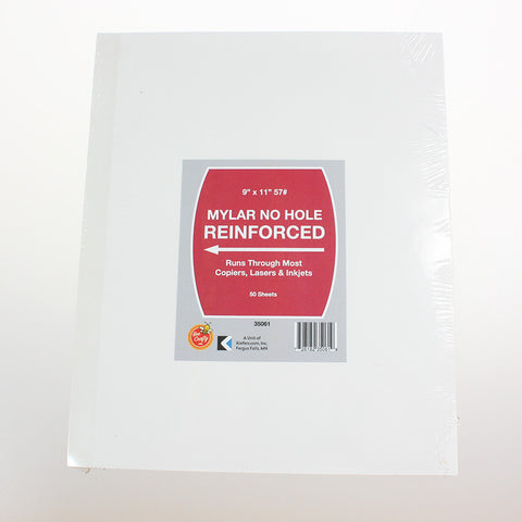 Mylar No Hole Reinforced Paper ($2.99 retail, $1.50 cost x 20 per case)