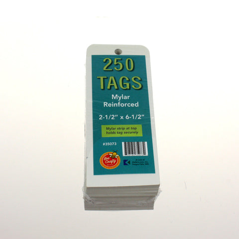 Mylar Reinforced Tags ($4.99 retail, $2.00 cost x 24 per case)