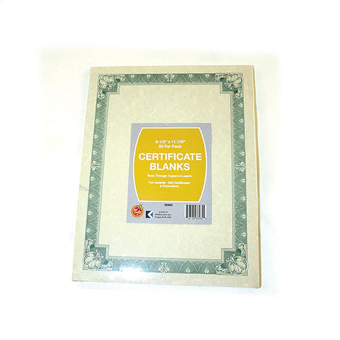 Certificate Blanks ($2.99 retail, $1.50 cost x 24 per case)