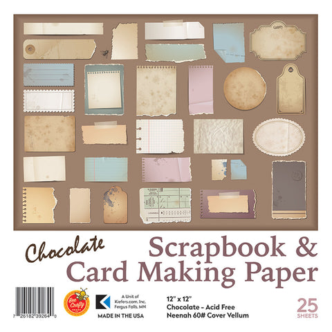 "12"" x 12"" Chocolate Neenah Cover Vellum ($9.95 retail, $4.00 cost x 12 per case)"