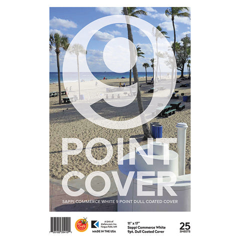 "11"" x 17"" 9 Point Cover Sappi Commerce White ($8.99 retail, $4.50 cost x 6 per case)"