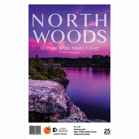 "11"" x 17"" Northwoods 10 Point White Matte Cover ($8.99 retail, $4.50 cost x 6 per case)"