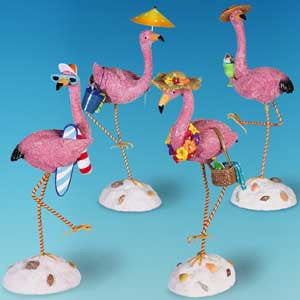 Bobble Beach Flamingo Figurine (Set of 4)